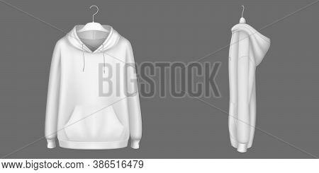 Hoody, White Sweatshirt On Hanger Mock Up Front, Side View. Isolated Hoodie With Long Sleeves, Kanga