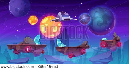 Space Game Level Background With Platforms. Vector Cartoon Illustration Of Universe With Alien Plane