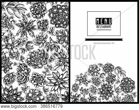 Menu Cover Floral Design With Black And White Succulent Echeveria, Succulent Echeveria, Succulent St