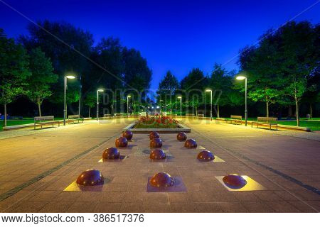 Scenery of city center in Pruszcz Gdanski at night, Poland.
