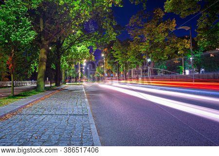Traffic lights on the steet of Poland.