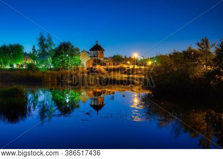 Beautiful scenery at the settlement of Trade Factory in Pruszcz Gdanski at night, Poland.