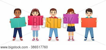 Smiling Cute Kids Boys And Girls Holding Books Isolated Vector Illustration. Multiethnic Happy Child