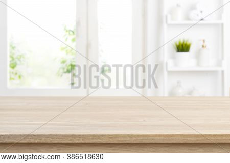 Defocused Bathroom Window Background With Empty Tabletop For Product Display
