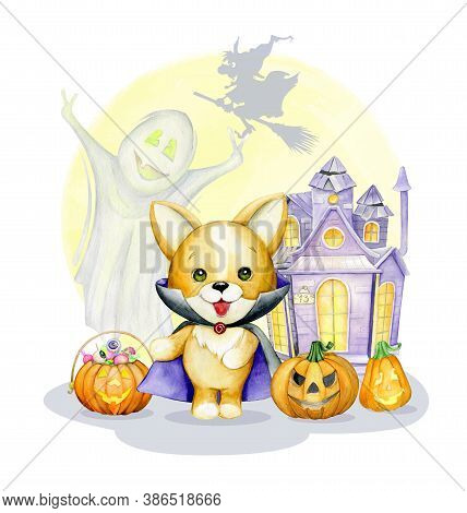 Dog In A Dracula Costume, Pumpkins, House, Ghost, Sweets. Watercolor Clip Art, In Cartoon Style, For