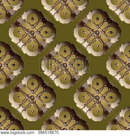 Baroque Style Vector 3d Seamless Pattern. Vintage Luxury Background. Ornamental Patterned Floral Des