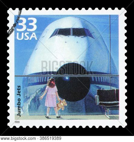 United States Of America - Circa 1999: A Postage Stamp Printed In Usa Showing An Image Of A Young Gi