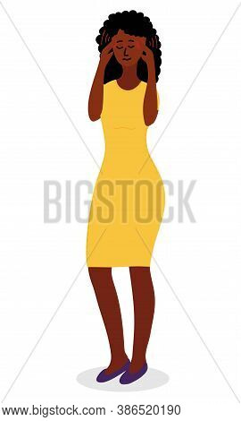 Black African Woman In Red Dress Feels A Strong Severe Headache. She Pressed Her Fingers To Her Temp