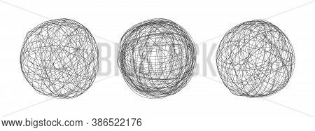 Tangle Chaos Abstract Hand Drawn Messy Scribble Sphere Ball Vector Illustration Set. Random Chaotic