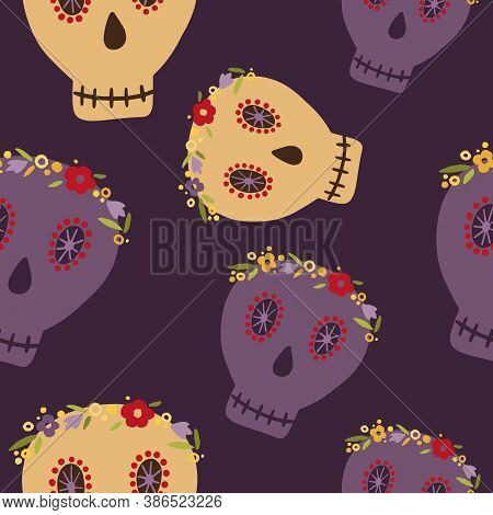 Seamless Pattern On The Theme Of The Day Of The Dead On October 1-2. Decorated With A Dead Symbol In
