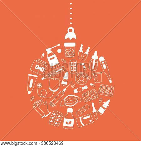 Meds, Drugs, Pills, Bottles And Health Care Medical Elements In Christmas Tree Ball Shape. Vector Il