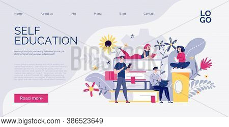 Web Design Template For E-learning, Online Education, E-book. Dictionary, Library Of Encyclopedia Or
