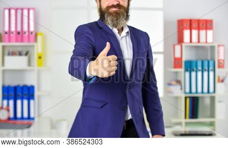 Well Done. Good Job. Male Hand Show Thumbs Up Sign. Success And Approval Concept. Gesture Expresses