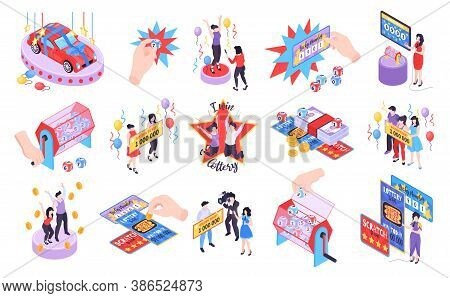 Isometric Fortune Lottery Set Of Isolated Icons With Raffle Tickets Chips And Characters Of Happy Wi