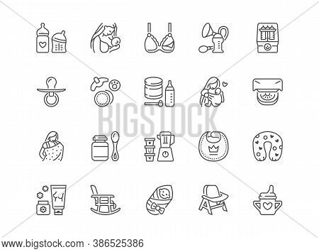 Breastfeeding Line Icons Set. Mother Breast Feeding Baby, Powdered Milk, Pump, Sling, Infant Food Bo
