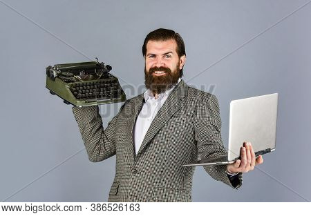 My Choice. Bearded Man In Jacket With Retro Type Writer. New Technology In Modern Life. Man Working