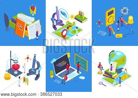School Subjects Contemporary Education Concept 6 Isometric Compositions With Chemistry Lab Computer