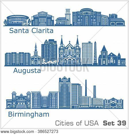 Cities Of Usa - Birmingham, Santa Clarita, Augusta. Detailed Architecture. Trendy Vector Illustratio