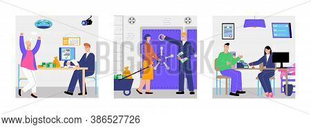 Bank Design Concept With Square Compositions Of Flat Images Clerks With Clients And Branch Bank Scen