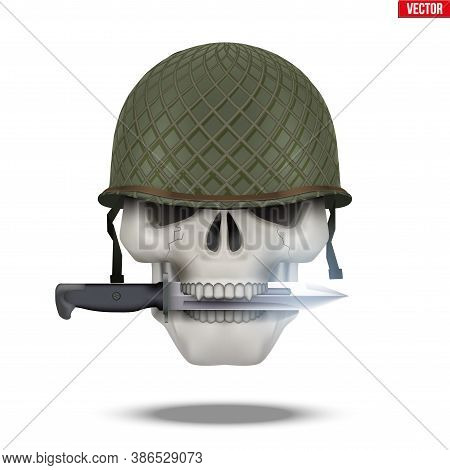 Skull With Military Helmet And Knife. Symbol Of Militarism For Labels And Patch. Vector Illustration