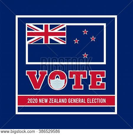 2020 New Zealand General Election. Vector Illustration With Nz Flag
