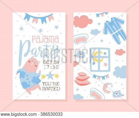 Pajama Party Invitation Card Template, Light Pink And Blue Childish Slumber Pyjama Overnight Sleepov
