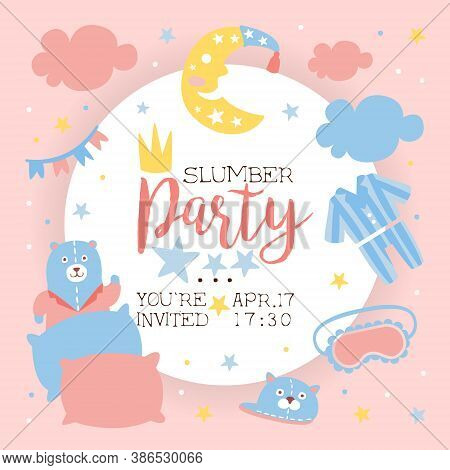 Slumber Party Invitation Banner Template, Light Pink And Blue Childish Pajama Party Card Cartoon Vec
