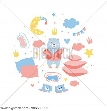 Slumber Party Banner Template, Childish Holiday Invitation Card Design With Party Symbols Of Round S