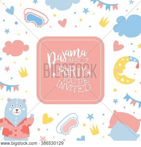 Pajama Party Banner Template, Childish Slumber Pyjama Overnight Sleepover Invitation Card Design Car