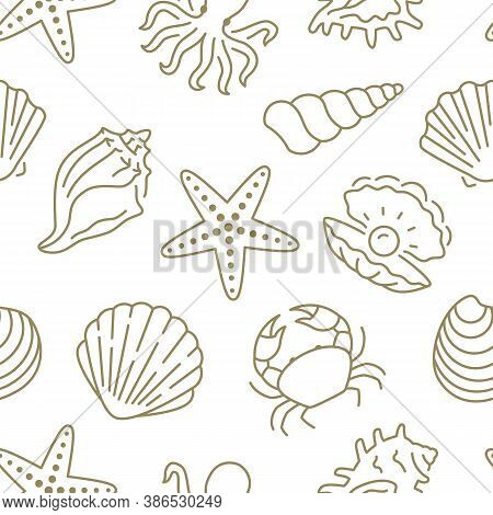 Seashell Seamless Pattern. Vector Background Included Line Icons As Sea Shells, Scallop, Starfish, C