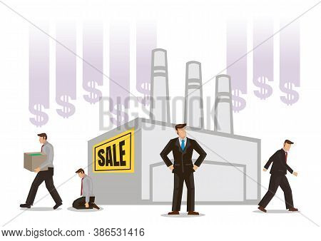 Factory On Sale. Bankruptcy Concept. Sinking Failure Company In Financial Crisis. Economical Problem