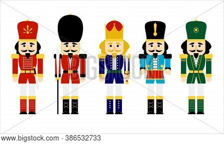 Vector Illustration Collection Set Christmas Nutcracker Toy Soldier Traditional Figurine Isolated On