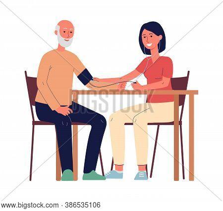 Voluntary Social Support Of Seniors Ar Home, Flat Vector Illustration Isolated.