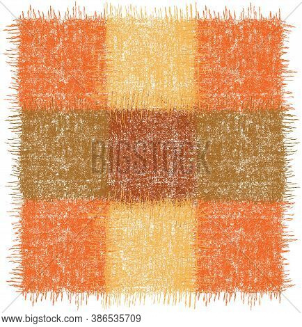 Rustic Checkered Rug, Mat, Carpet, Serviette, Napkin With Square Grunge Woven Elements In Orange, Br