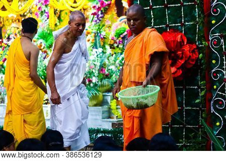 August 15th, 2020, Iskon Temple, Krishnanagar, Nadia West Bengal. Monks Collect Offerings From Devot