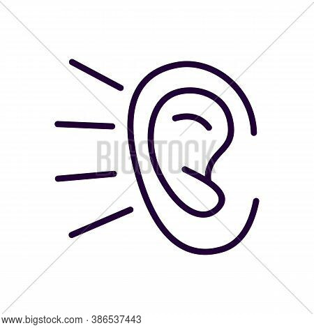 Ear Listening Icon. Outline Ear Listening Vector Icon For Web Design Isolated On White Background