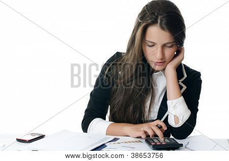 Portrait of the young beautiful businesswoman isolated