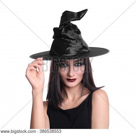 Mysterious Witch Wearing Hat On White Background