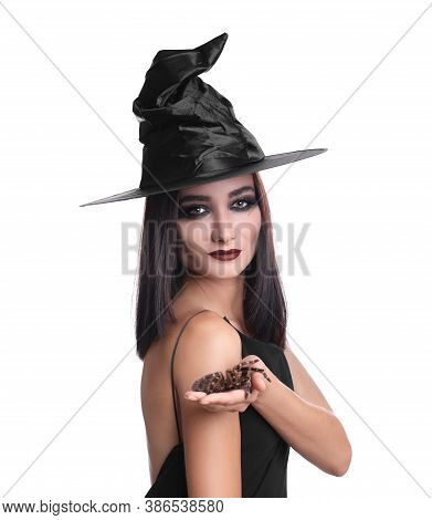Mysterious Witch In Hat With Spider On White Background