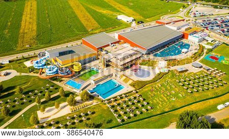 Pasohlavky / Czech Republic - August 20, 2019: Aqualand Moravia is amazing destination for water fun. Aqua park with 8000 visitors capacity. Beautiful landmark on South Moravia.