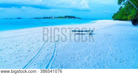 Exotic Beach, Relax Tourism Travel Banner.beautiful Summer Vacation Landscape. Chairs Or Loungers On