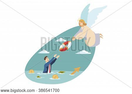 Religion, Christianity, Business Concept. Angel Biblical Character Throwing Lifebuoy To Young Busine