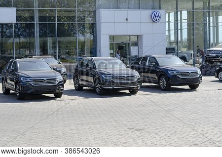 Mykolaiv, Ukraine - September 17, 2020: New Volkswagen Touareg R- Line Highline On Parking In Front