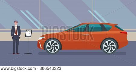 A Male Car Dealer Sells An Modern Electric Suv Car In A Car Dealership. Vector Illustration.