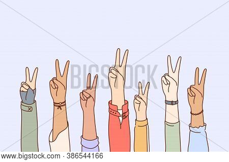 Peace, Protest, Pacifism, Multiethnicity Concept Set. Collection Of Human Male Female Cartoon Charac