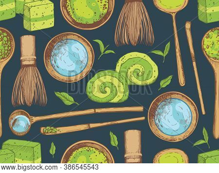 Matcha Seamless Pattern. Japaneese Ethnic And National Tea Ceremony. Traditions Of Teatime. Decorati