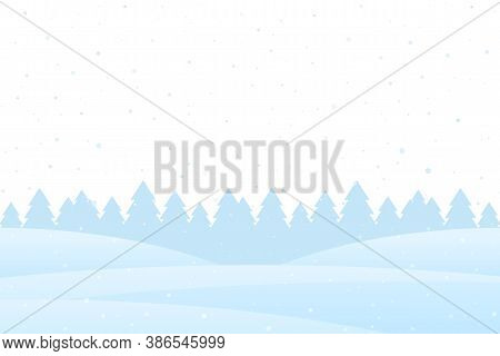 Christmas Winter Background With Snowy Pine Forest Landscape.