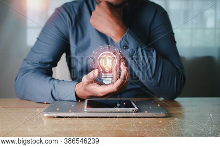 Business People Hands Holding Icon Idea Creativity And Inspiration Light Bulb With Gears.concept Of