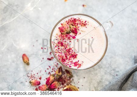 Pink Matcha Latte With Milk. Trendy  Beverage. Christmas Drink. Ayurvedic Rose Moon Milk With A Litt