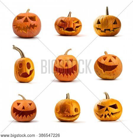 Set of Halloween pumpkins isolated on white background.